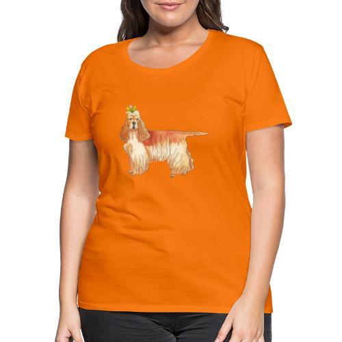 American cocker spaniel with flower - Dame premium T-shirt