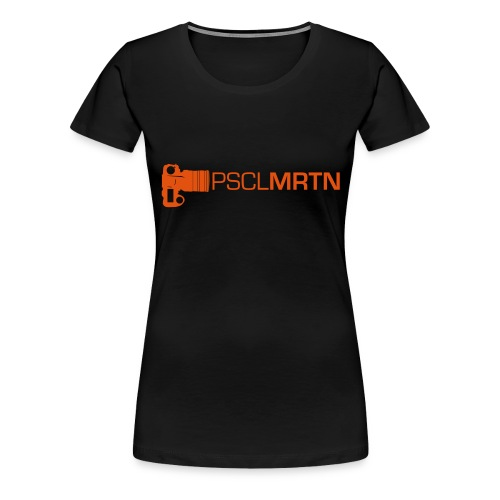Black on Black with Orange Neck - Frauen Premium T-Shirt