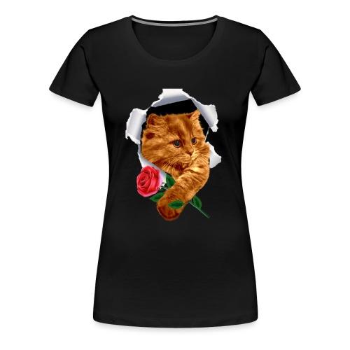 katze mit rose - Frauen Premium T-Shirt