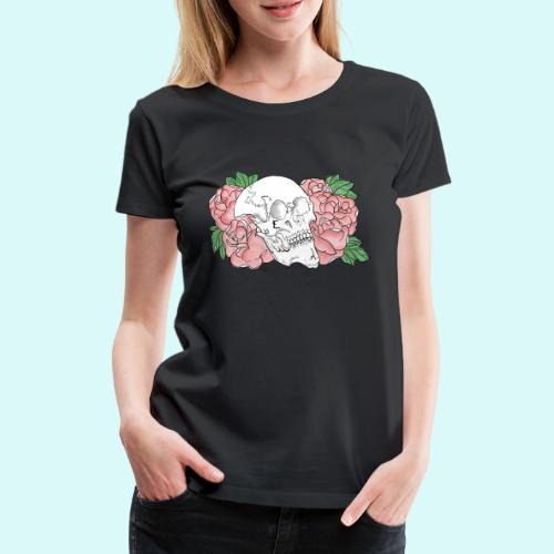 skull et fleurs - T-shirt Premium Femme