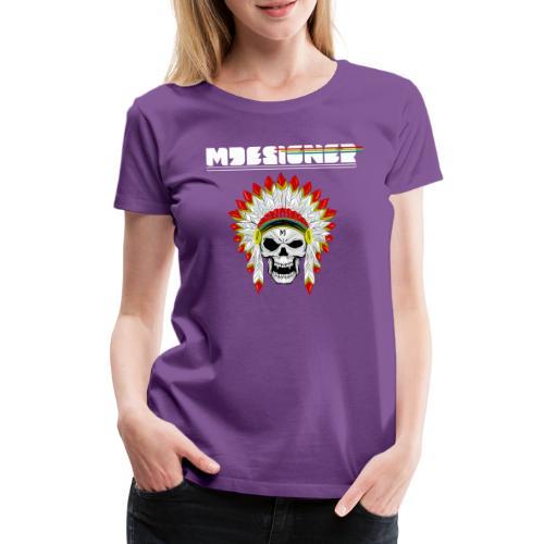 calavera o craneo con penacho de plumas vampiresco - Camiseta premium mujer