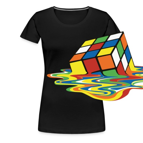 Rubik's Cube Melted Colourful Puddle - Premium T-skjorte for kvinner