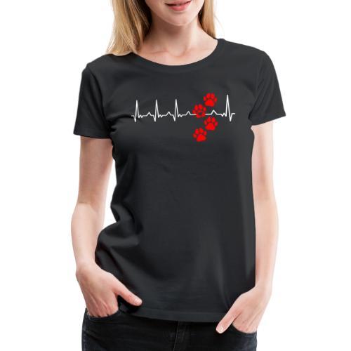 Herz Schlag Hundepfoten Herz Rhythmus Beat Liebe - Frauen Premium T-Shirt