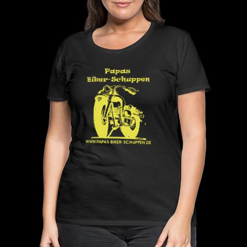 Papas Biker-Schuppen Logo Gelb - Frauen Premium T-Shirt