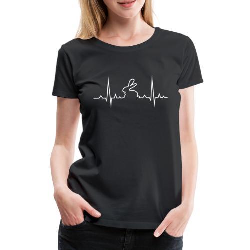 EKG Herzschlag Hase Kaninchen Zwergkaninchen - Frauen Premium T-Shirt