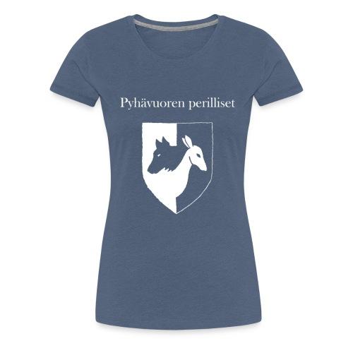 Pyhävuoren perilliset häälogo+teksti - Naisten premium t-paita