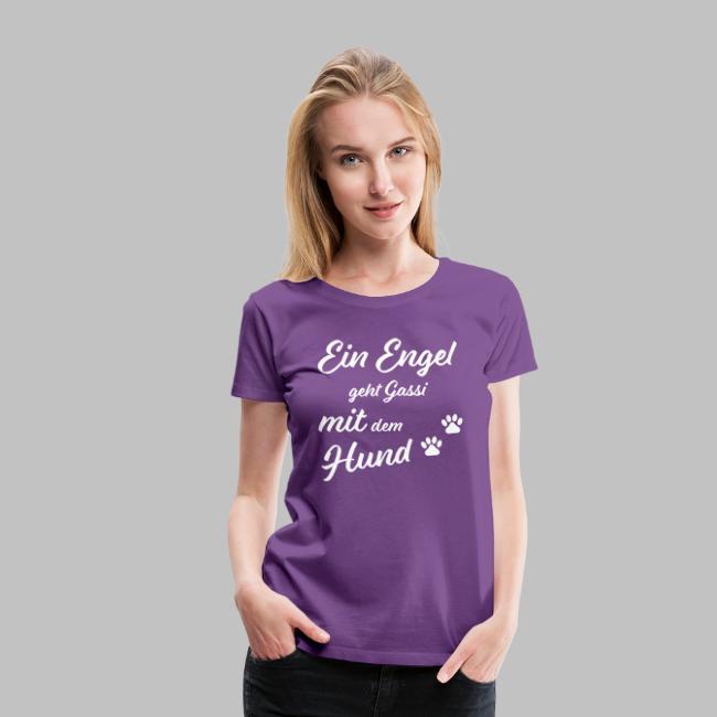Ein Engel geht Gassi mit dem Hund - V2 - White