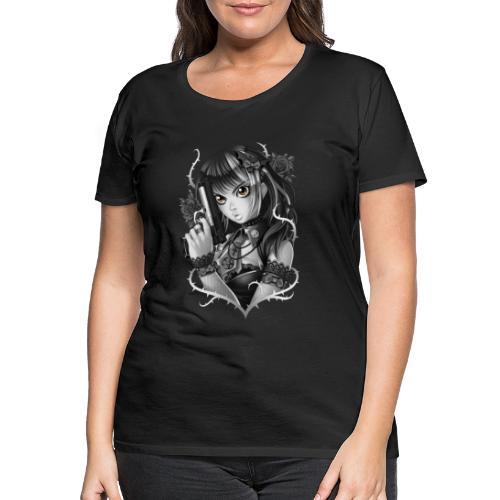 Manga Gun Girl Grey - Women's Premium T-Shirt