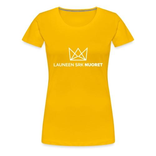 Laune logo tekstialla white png - Naisten premium t-paita