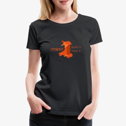 Cymru - Latitude / Longitude - Women's Premium T-Shirt