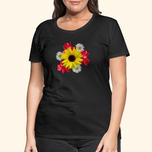 Blumenstrauß, Sonnenblume, Margeriten, rote Blumen - Frauen Premium T-Shirt