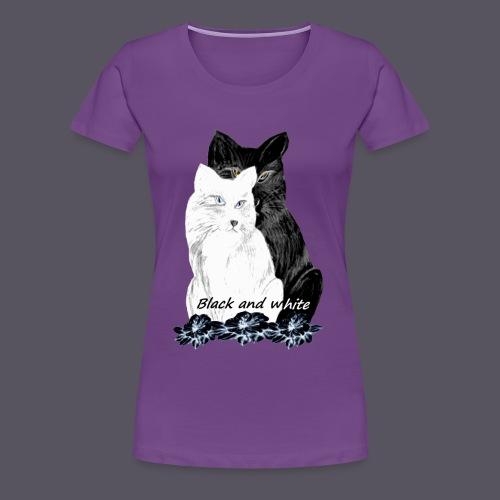 Katzenblack and white - Frauen Premium T-Shirt