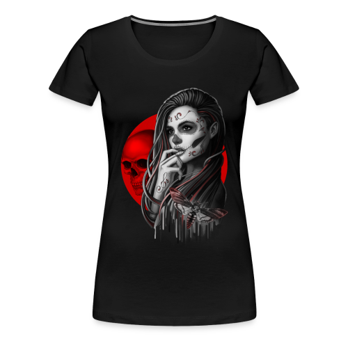 Sugar Skull Girl Hawk-Moth - Women's Premium T-Shirt