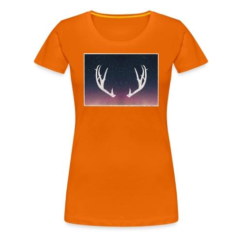 Poronsarvet taustalla - Naisten premium t-paita