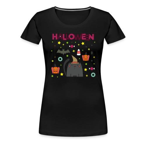 Halloween, katze, kürbis - Frauen Premium T-Shirt