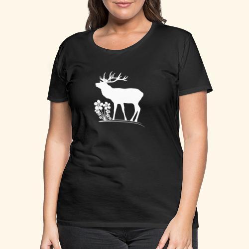 wilder Hirsch mit Blumen, Tiere, Reh, Hirsche - Frauen Premium T-Shirt