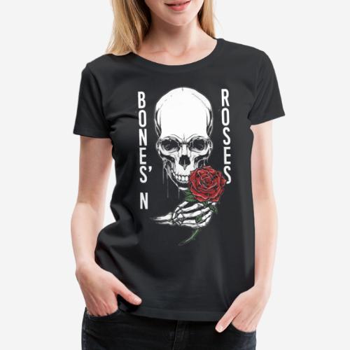 Knochen Rosen Schädel - Frauen Premium T-Shirt