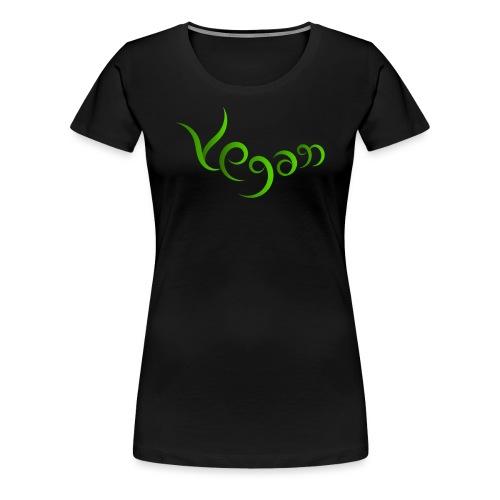 Vegaani käsinkirjoitettu design - Naisten premium t-paita