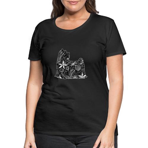 Flower Yorkie - Naisten premium t-paita