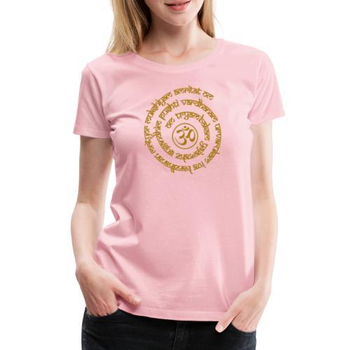 Yoga Mantra Motiv Tryambakam Heilmantra Gold - Frauen Premium T-Shirt