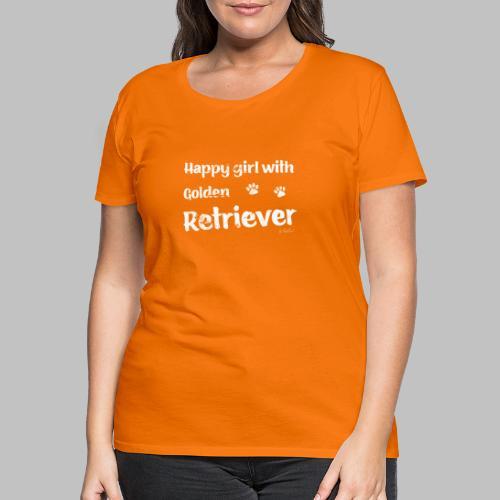Happy girl with Golden Retriever - Frauen Premium T-Shirt