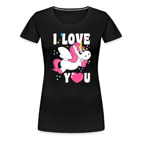 I love You Einhorn - Frauen Premium T-Shirt