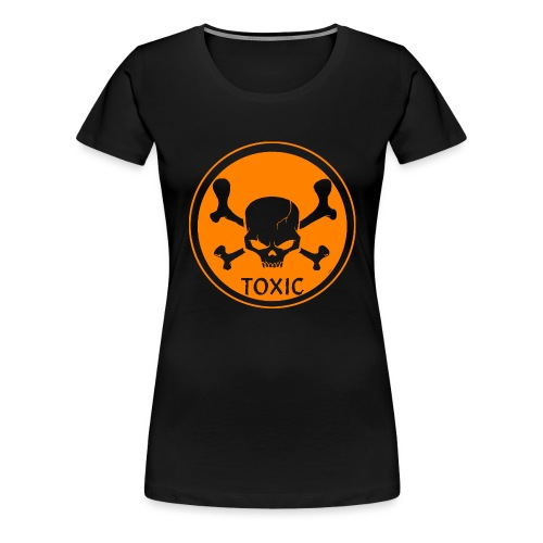 Skull Toxic Black & Orange - T-shirt Premium Femme