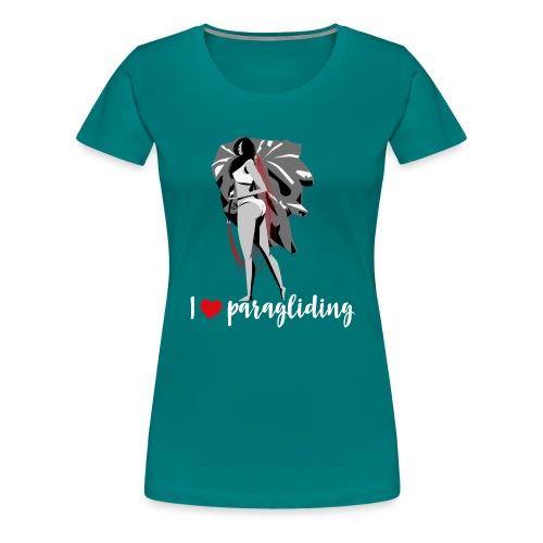 Frau mit Gleitschirm - Frauen Premium T-Shirt