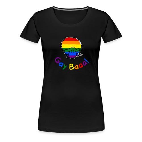 Gay Baaa! Pride Sheep (testo arcobaleno edizione nera) - Maglietta Premium da donna