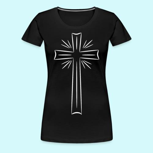 Kreuz weiß - Frauen Premium T-Shirt