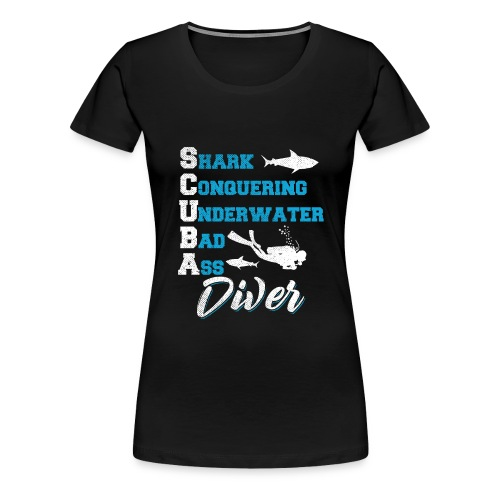 Shark Conquering Underwater Scuba Diver - Frauen Premium T-Shirt