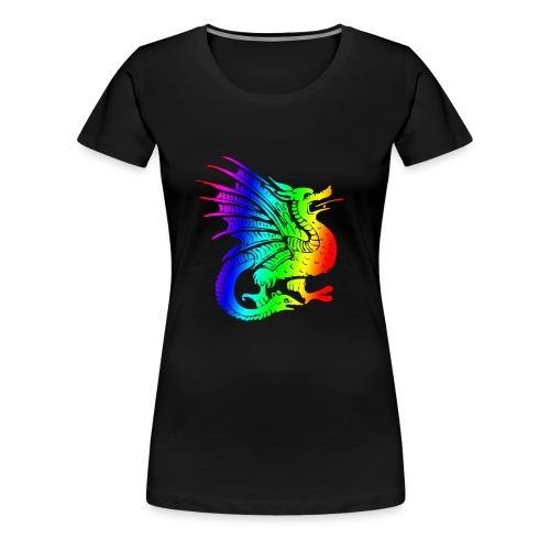 dragonrainbw.png - Women's Premium T-Shirt