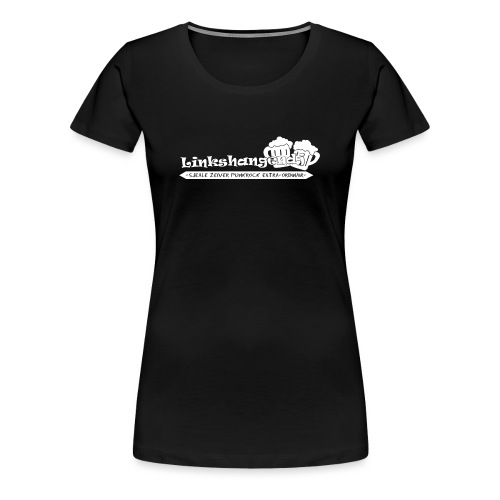 Linkshangendj Logo Wit - Vrouwen Premium T-shirt