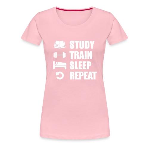 Study & Train - Naisten premium t-paita