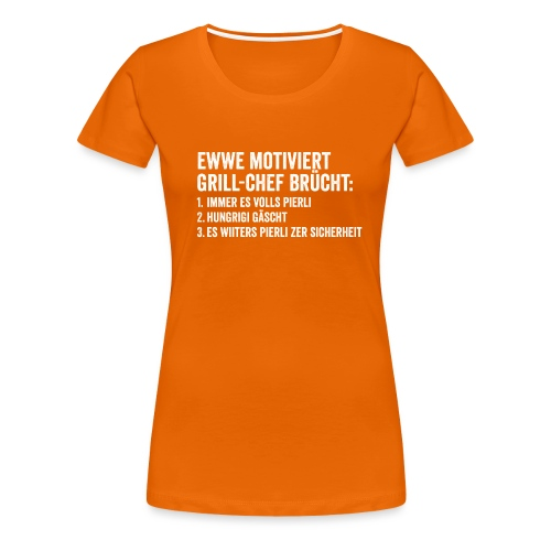 MOTIVERTER GRILL-CHEF - Frauen Premium T-Shirt