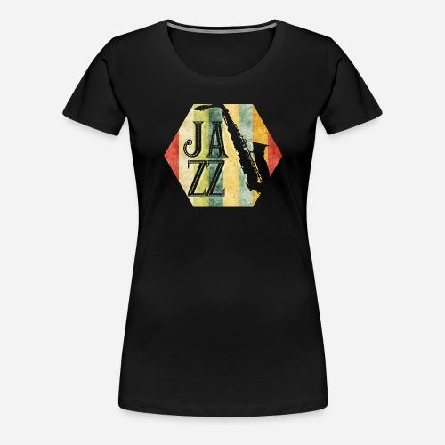 Jazz Retro Sechseck mit Saxophon - Frauen Premium T-Shirt