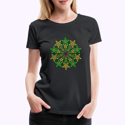 Fractal Star 3 -värinen neon - Naisten premium t-paita