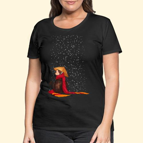Un singe en hiver sous la neige - T-shirt Premium Femme