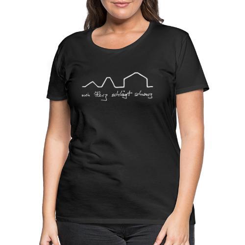 mein Herz schlägt schwarz - Frauen Premium T-Shirt