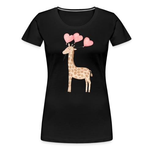 Giraffe mit Luftballons - Frauen Premium T-Shirt