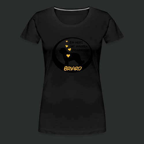 Briard - Herz mit Haaren drumherum - zweifarbig - Frauen Premium T-Shirt
