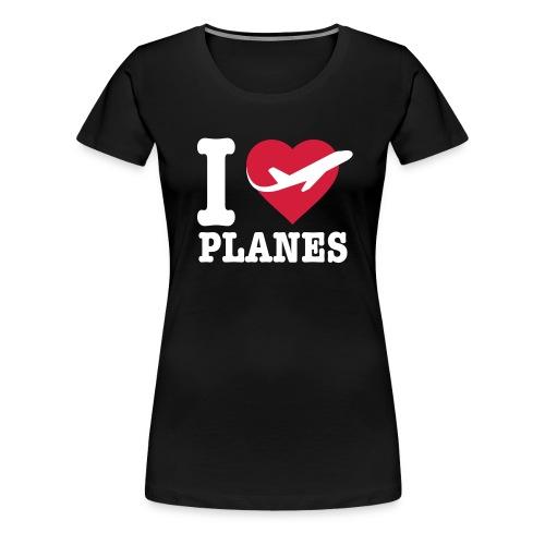 Rakastan lentokoneita - valkoisia - Naisten premium t-paita
