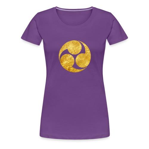 Kobayakawa Mon Japanese clan gold on black - Women's Premium T-Shirt
