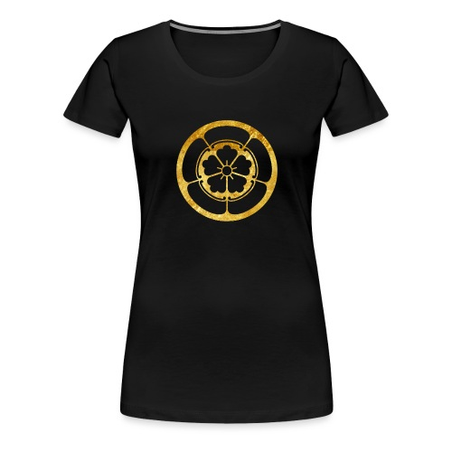 Oda Mon Japanese samurai clan in gold - Women's Premium T-Shirt