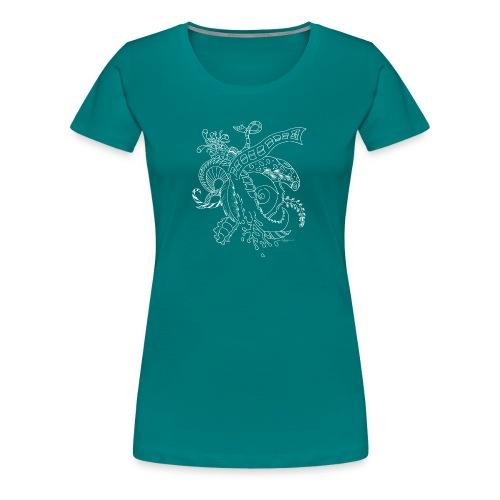 Fantasia valkoinen scribblesirii - Naisten premium t-paita