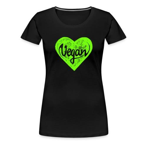 Vegan, Herz, I Love, Grün, Öko, Natur Ich Liebe - Frauen Premium T-Shirt