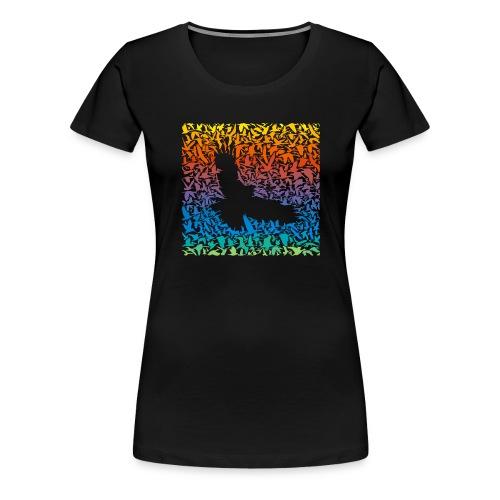 Abstract rainbow predator bird and its prey - Frauen Premium T-Shirt
