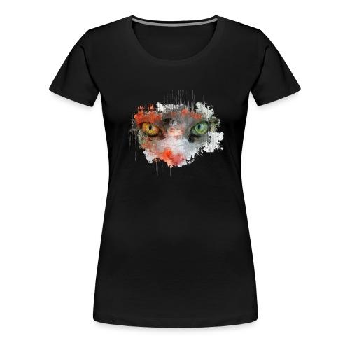 Katze Augen orange grün - Frauen Premium T-Shirt