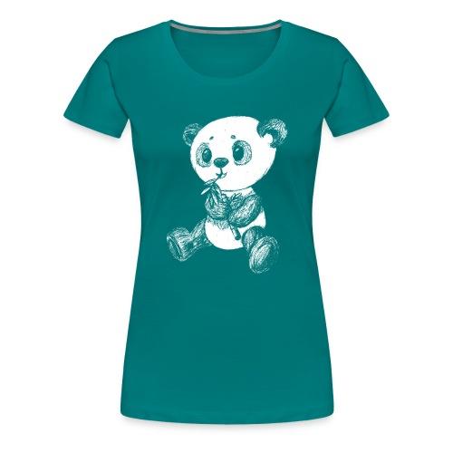 Panda bjørn hvid scribblesirii - Dame premium T-shirt