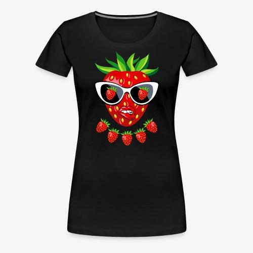 Süße Erdbeere Kussmund Sonnenbrille 23 - Frauen Premium T-Shirt
